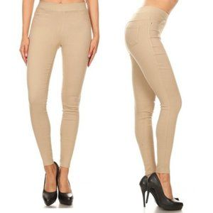 NEW - High-Waist Pull-On Stretch Skinny Jeggings